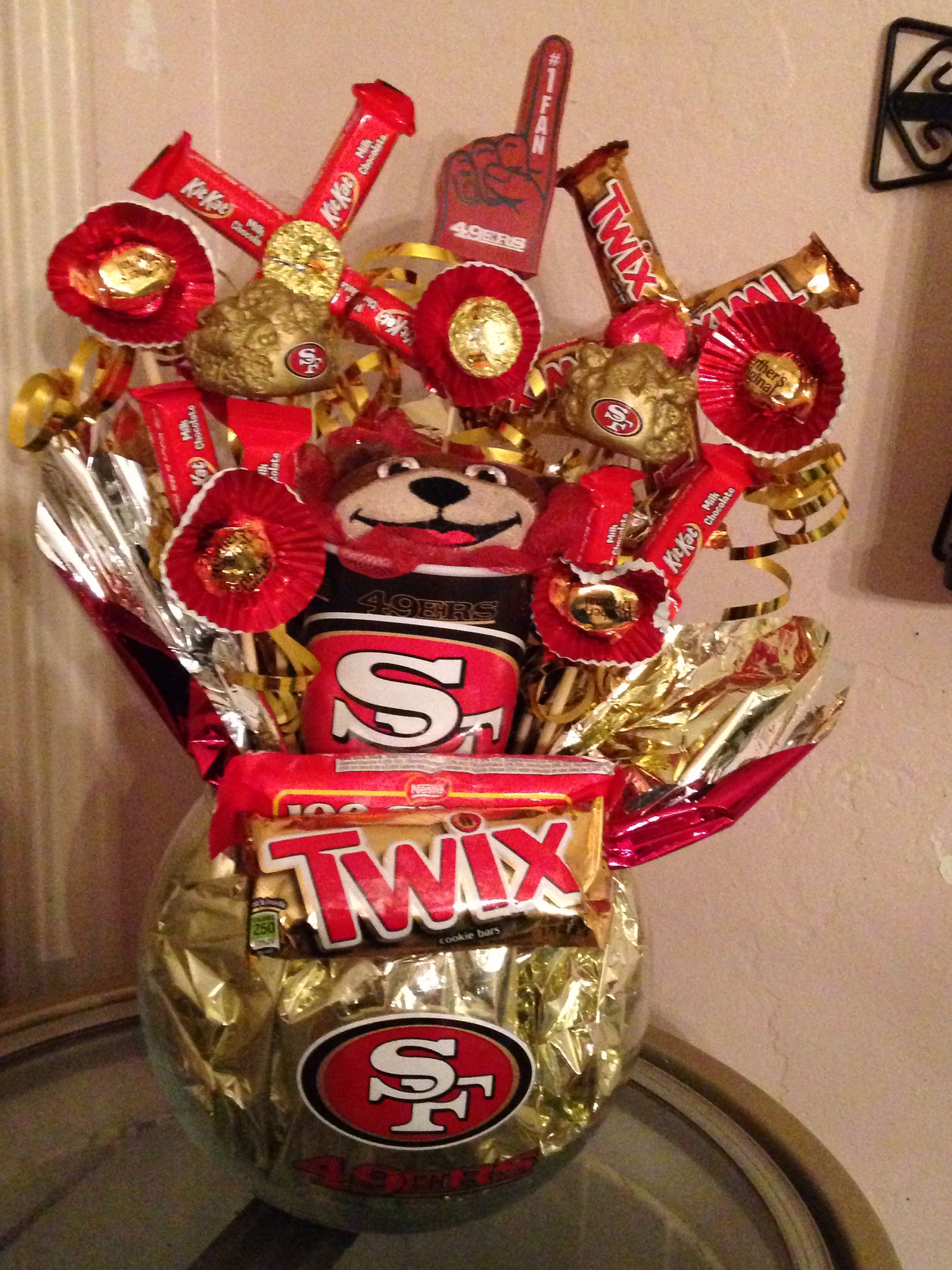 49ers candy bouquet made of candy and things found at