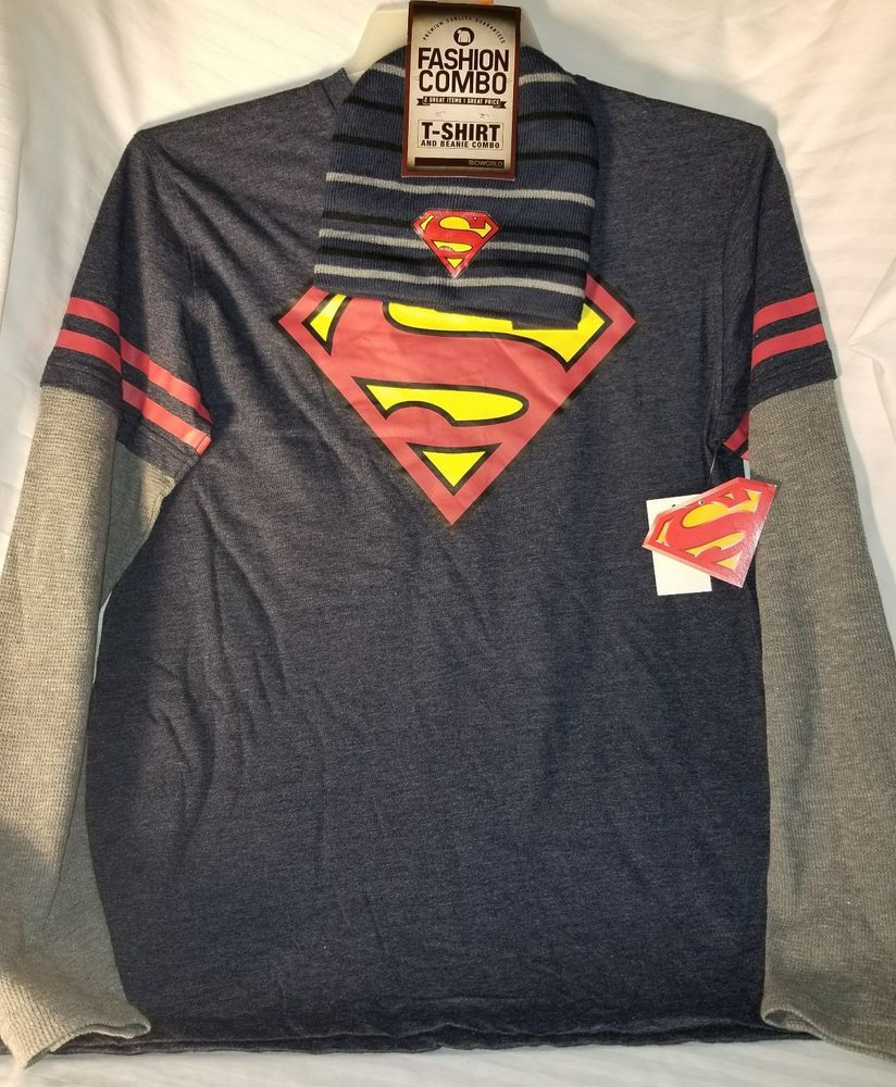Superman Men's Size M Blue/Red Long Sleeve TShirt And