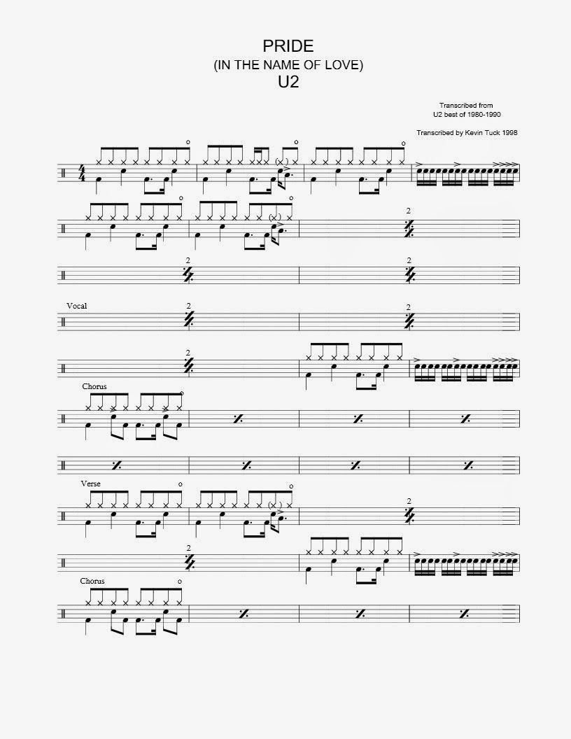 U2 Pride In The Name Of Love Drum Sheet Music Sheet Music Book Drum Patterns
