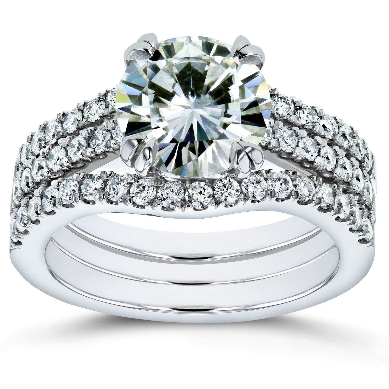 Moissanite And Lab Grown Diamond 3pc Bridal Rings Set 2 1 2 Ctw 14k White Gold Hi Vs Def Vs For More In Grown Diamond Lab Grown Diamonds Amazing Jewelry