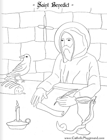 Saint Benedict Catholic coloring page: Feast day is July