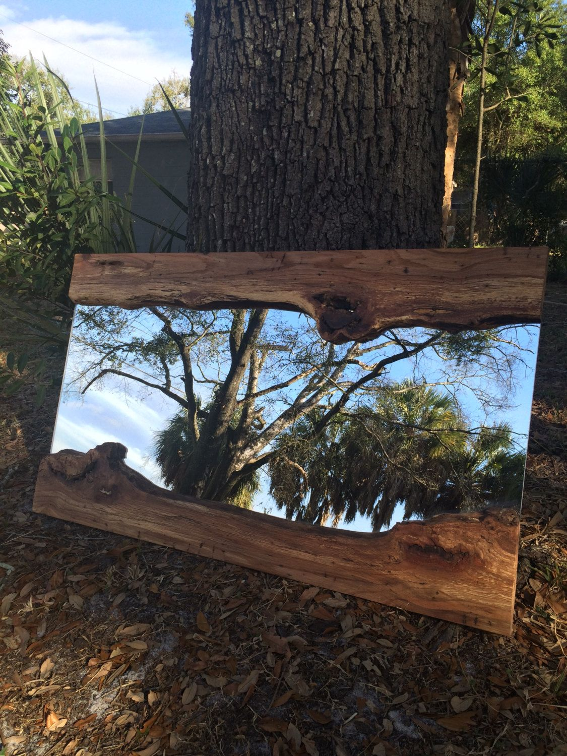 Live edge wood slab river mirror by functionalitydesign on for Live edge slab lumber