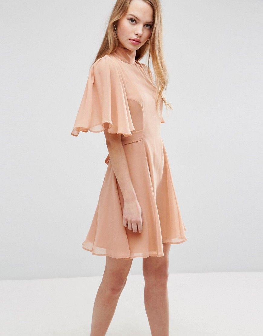 15753978d8 ASOS High Neck Flutter Sleeve Open Back Mini Dress - Pink