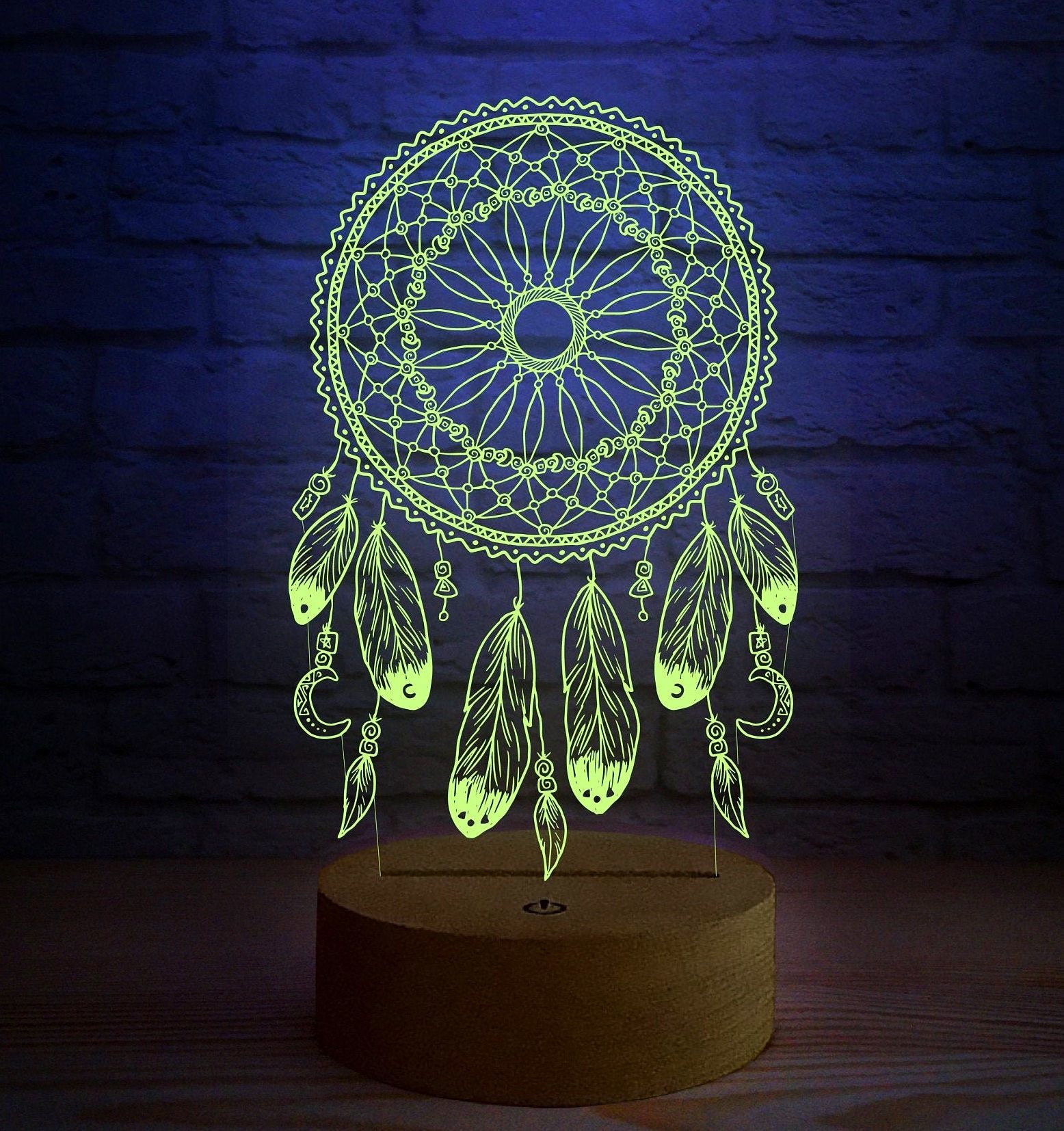 Dreamcatcher 3d Led Lamp Nursery Dream Catcher Table Night Lamp Boho Gift For Her Wooden Base Lamp With Brightness Adjustment Function In 2020 Unique Night Lights 3d Led Lamp Night Light Lamp