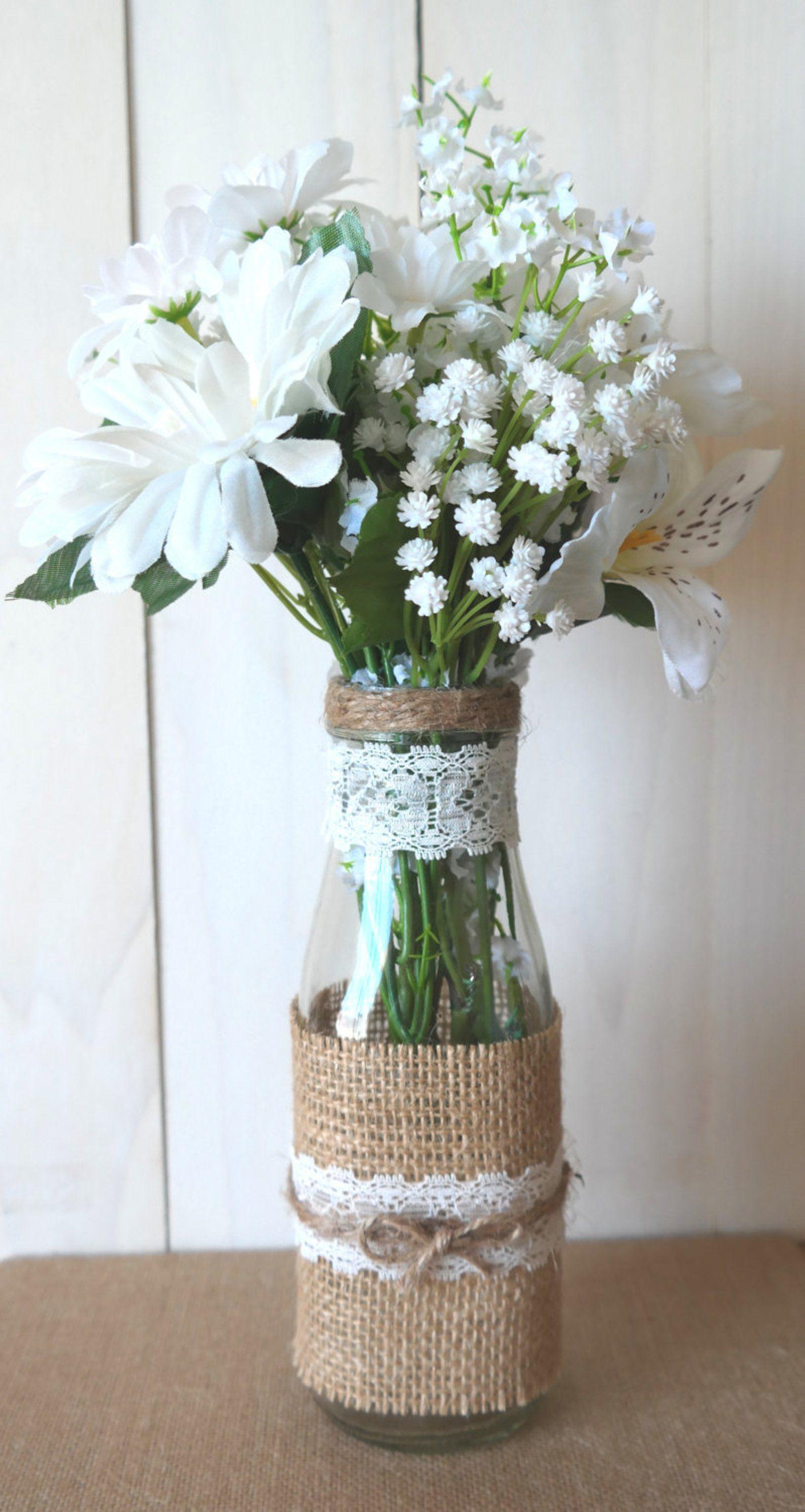 Rustic Burlap and Lace Glass Bottle Vase Wedding Centerpiece