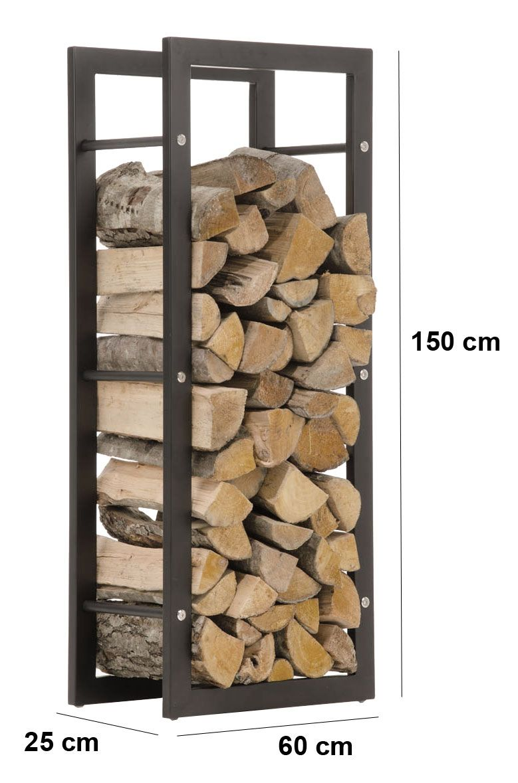 Firewood Rack KERI Black Log Shelf Basket Stand Holder Metal Wood Fire  Storage