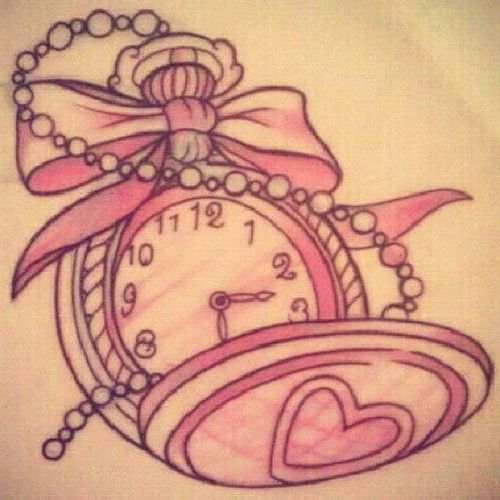 With Char S Time Of Birth Girly Pocket Watch Tattoo With