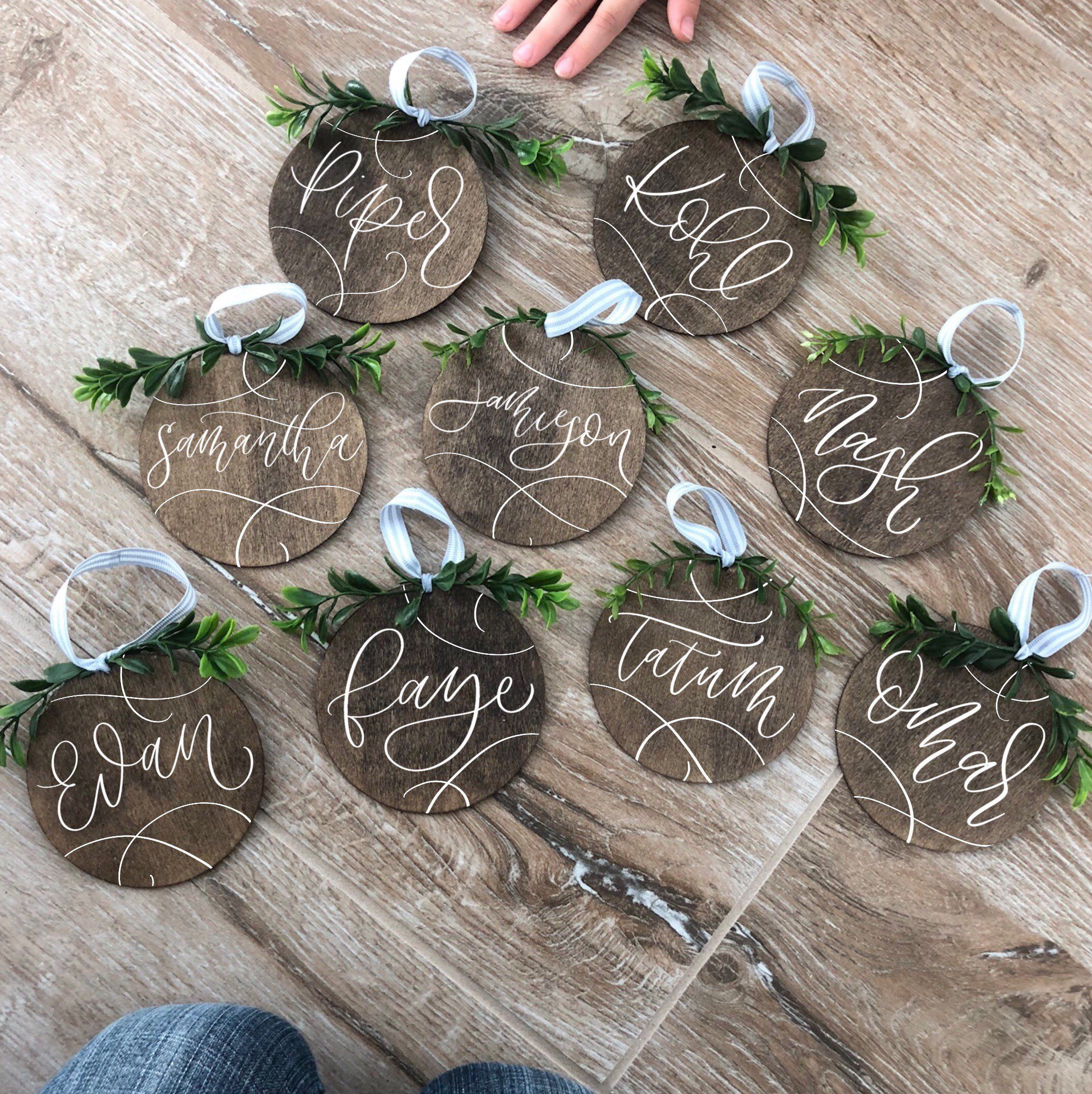 Personalized wood Christmas ornaments, our first christmas