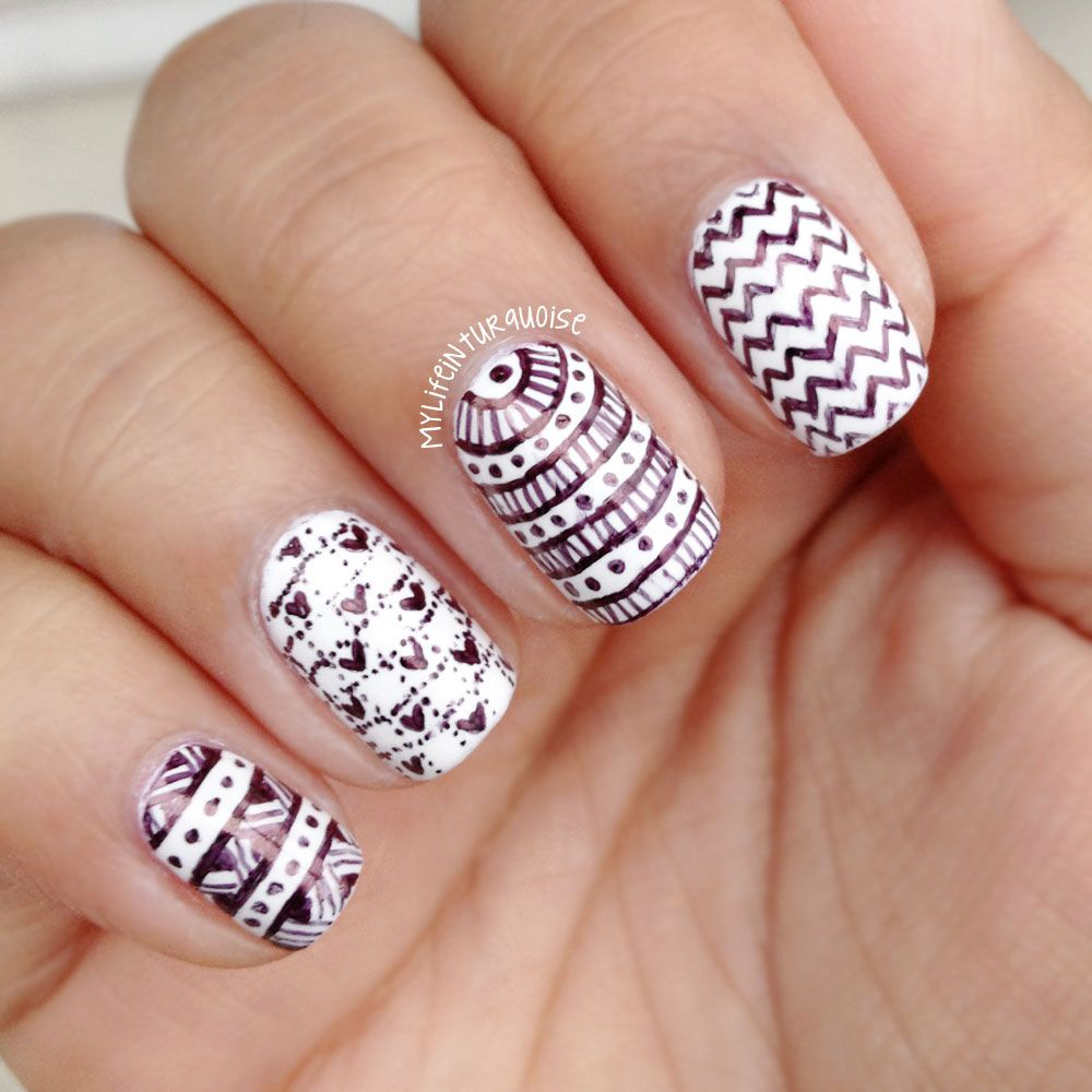 Gorgeous Black Patterns With Nail Art Pen On White Nail Art Design ...