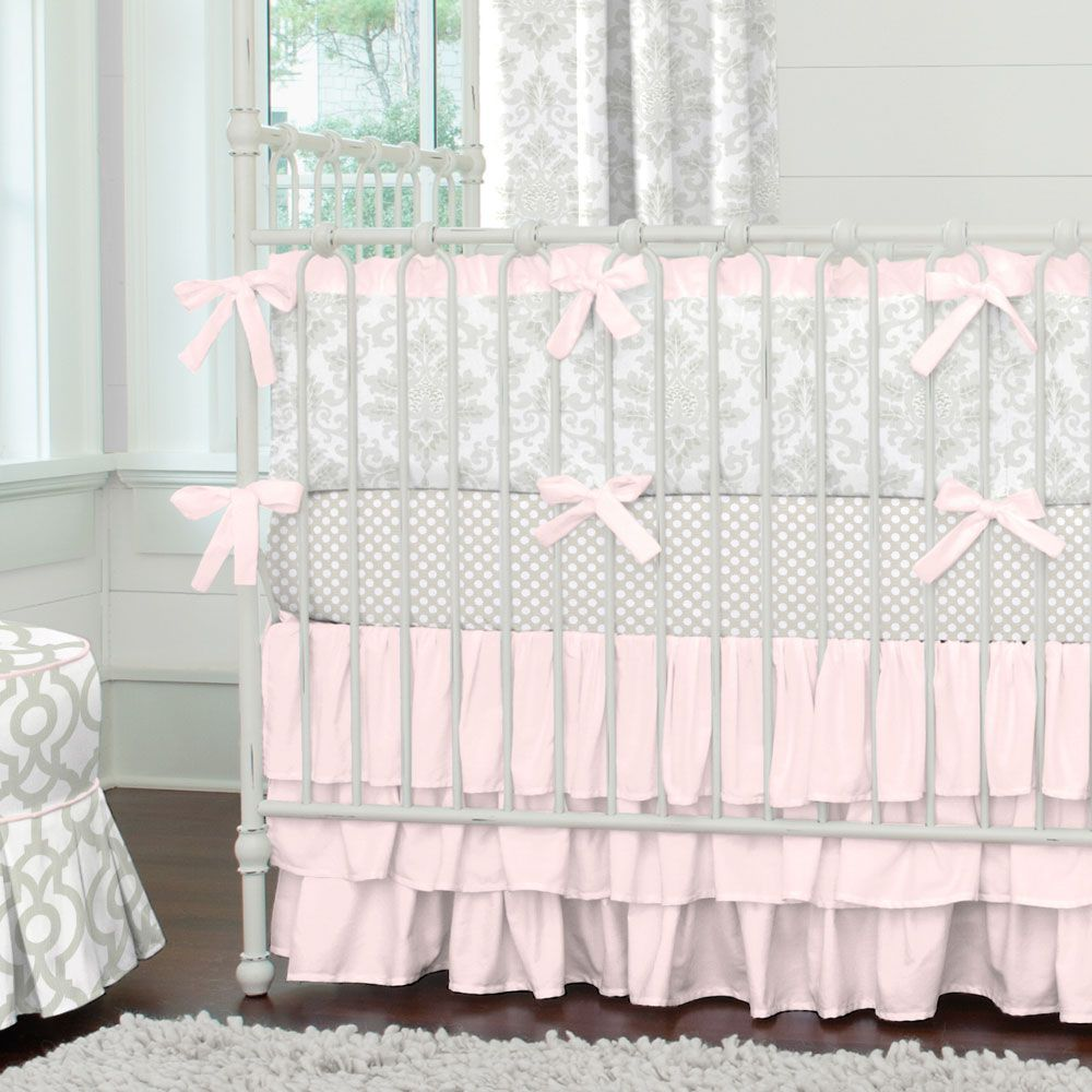Purple and grey damask bedding - French Gray And Pink Damask Crib Bedding
