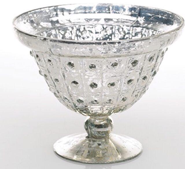 Mercury glass pedestal vase