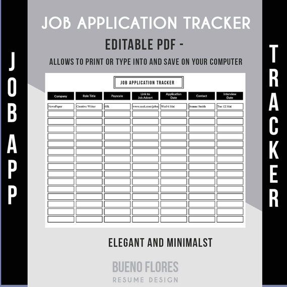 Job Application Tracker Job Application Log / Editable