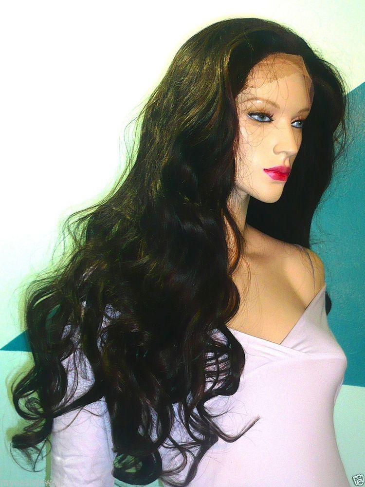 """#1/33 Bodywave Synthetic Hair Front Lace Wig Wigs 30"""" Long Heat OK In Stock"""