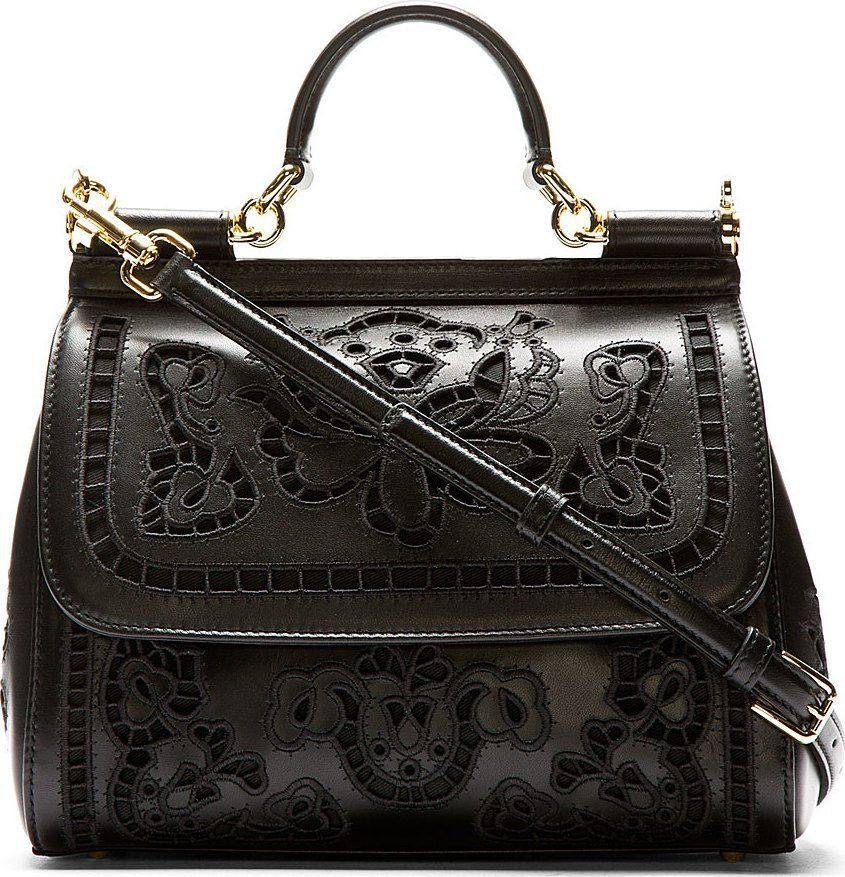 a08fe54bc91b Dolce   Gabbana Black Floral Embroidered Miss Sicily Bag 42003F070001  Structured buffed leather bag in black. Gold-tone hardware.