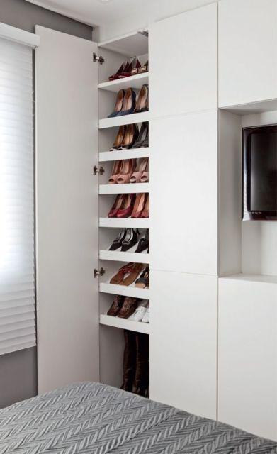 Artesanato Suely Alvaro Ramos ~ sapateira armário planejado Bedroom Pinterest Armários planejados, Sapateiras e Planejados