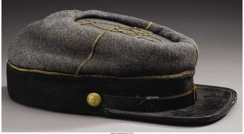US Civil War Confederate Leather Peak 1st Or 2nd Lieutenant/'s Kepi