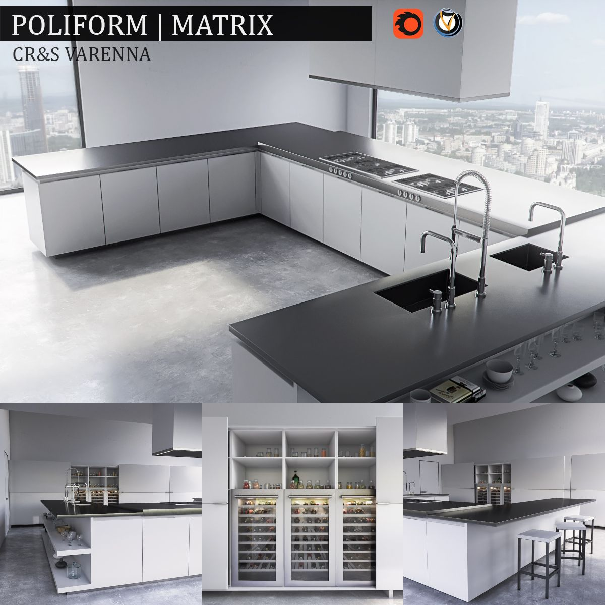 Wonderful Kitchen Varenna Matrix Render : Vray, Corona Archives Included: Materials  (mat) Corona, Vray, Textures, FBX, Scene 3ds Max 2014 Vray