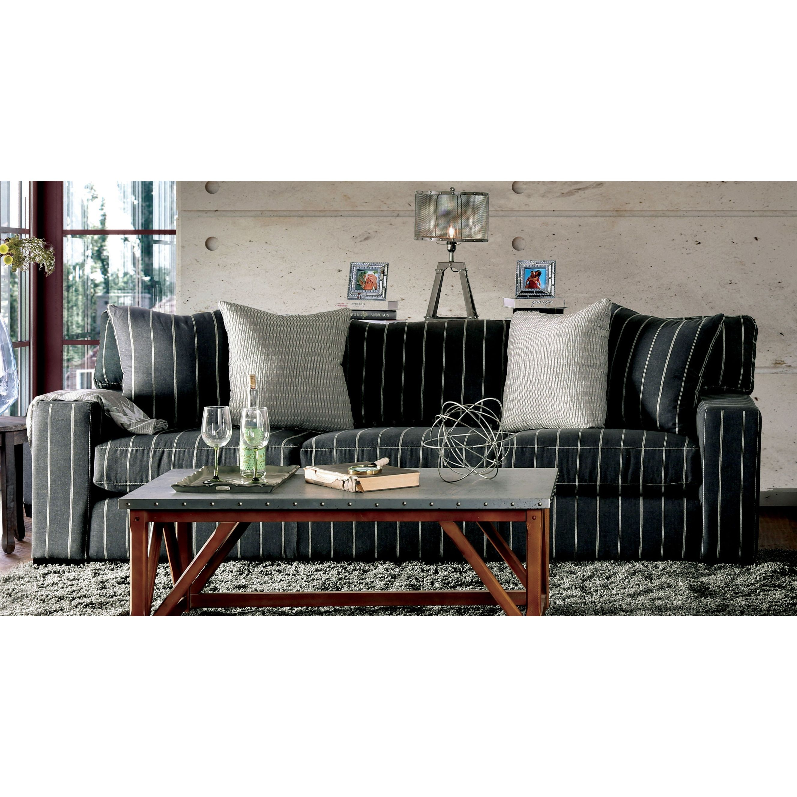 Bassist Striped Charcoal Premium Fabric Sofa by