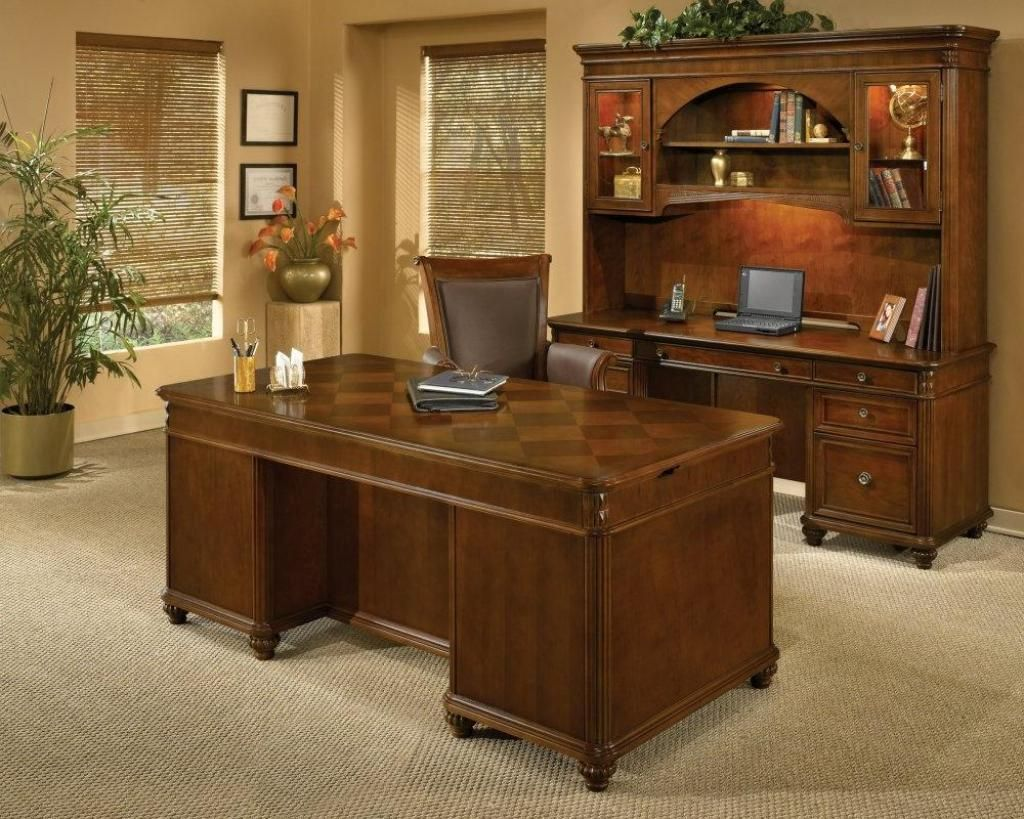 Contemporary Home Office Desk With Amazing Wooden Appearence With Drawers Rectangle Sleek As Well Classic Carpet Cover The Floor And Frame On Wall Corner Attractive Computer Desk Ideas for Stylish Home Office Decor Interior Design http://seekayem.com