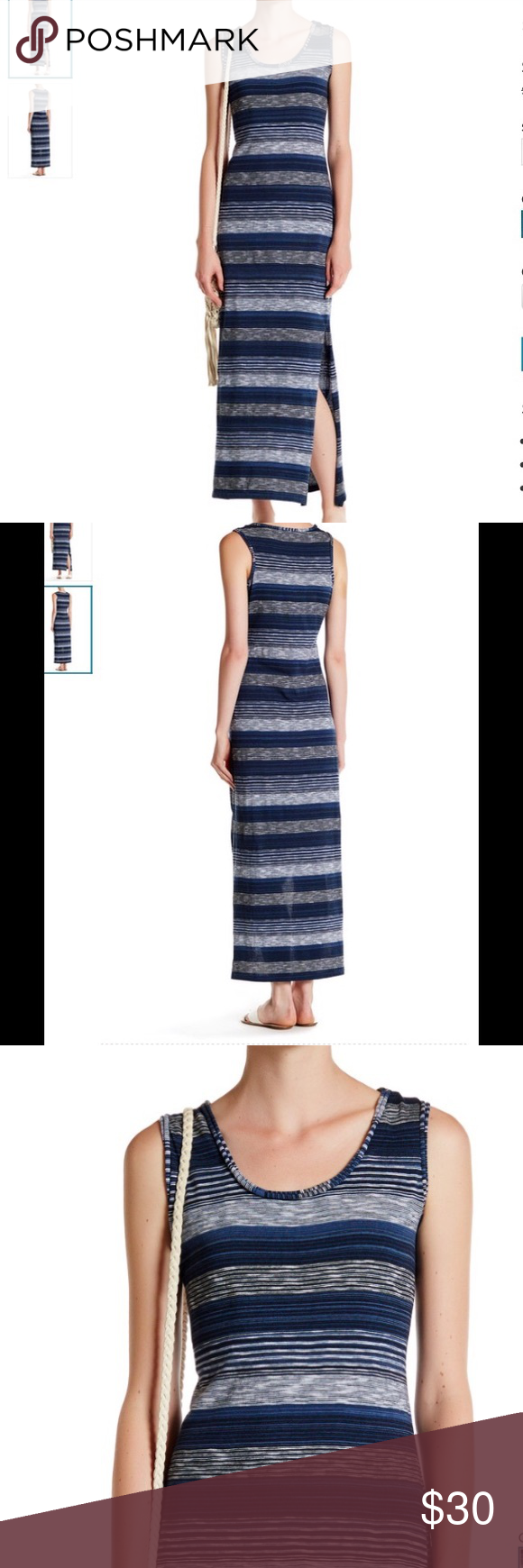 """MAX STUDIO STRIPED MAXI DRESS NO TRADES - Scoop neck - Sleeveless - Allover stripes - Side slits - Approx. 55"""" length 100% cotton Machine wash cold.  style fits true to size. Model's stats for sizing: - Height: 5'10.5"""" - Bust: 31"""" - Waist: 23.5"""" - Hips: 34"""" Model is wearing size S. Max Studio Dresses Maxi"""