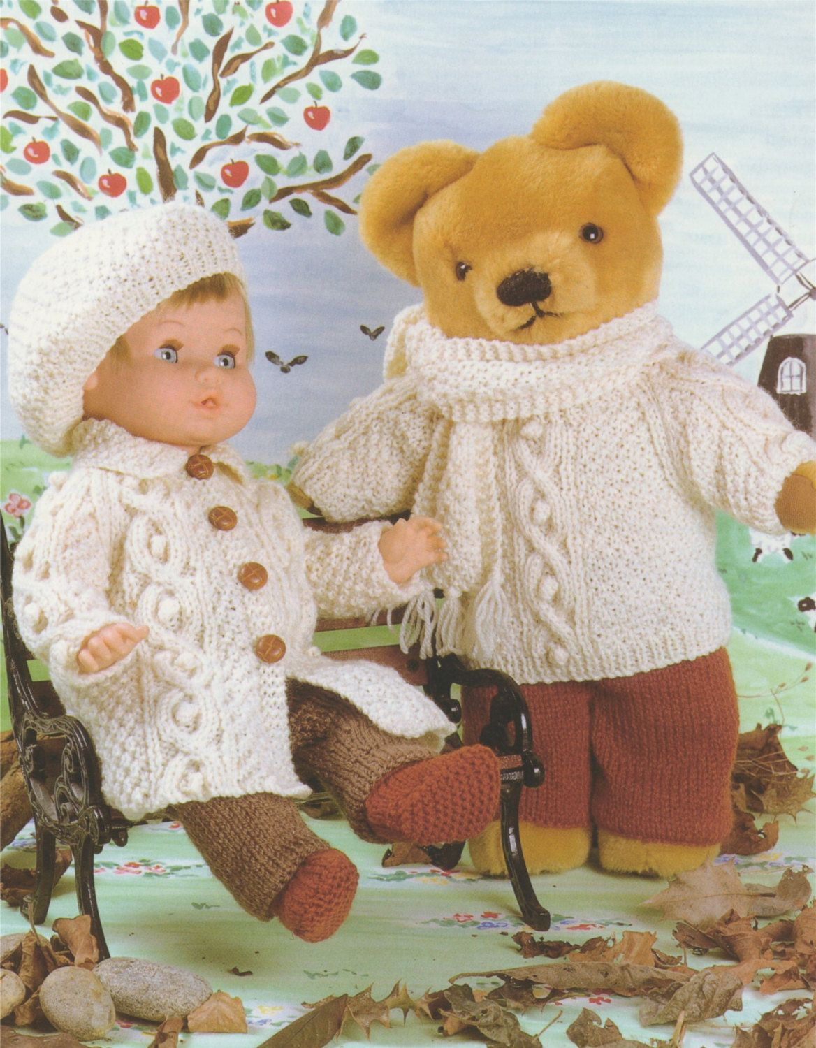 "14/"" 12/"" /& 9/""  LOVELY THREE TEDDY BEAR TOYS//DOLL TO KNIT DK KNITTING PATTERN"