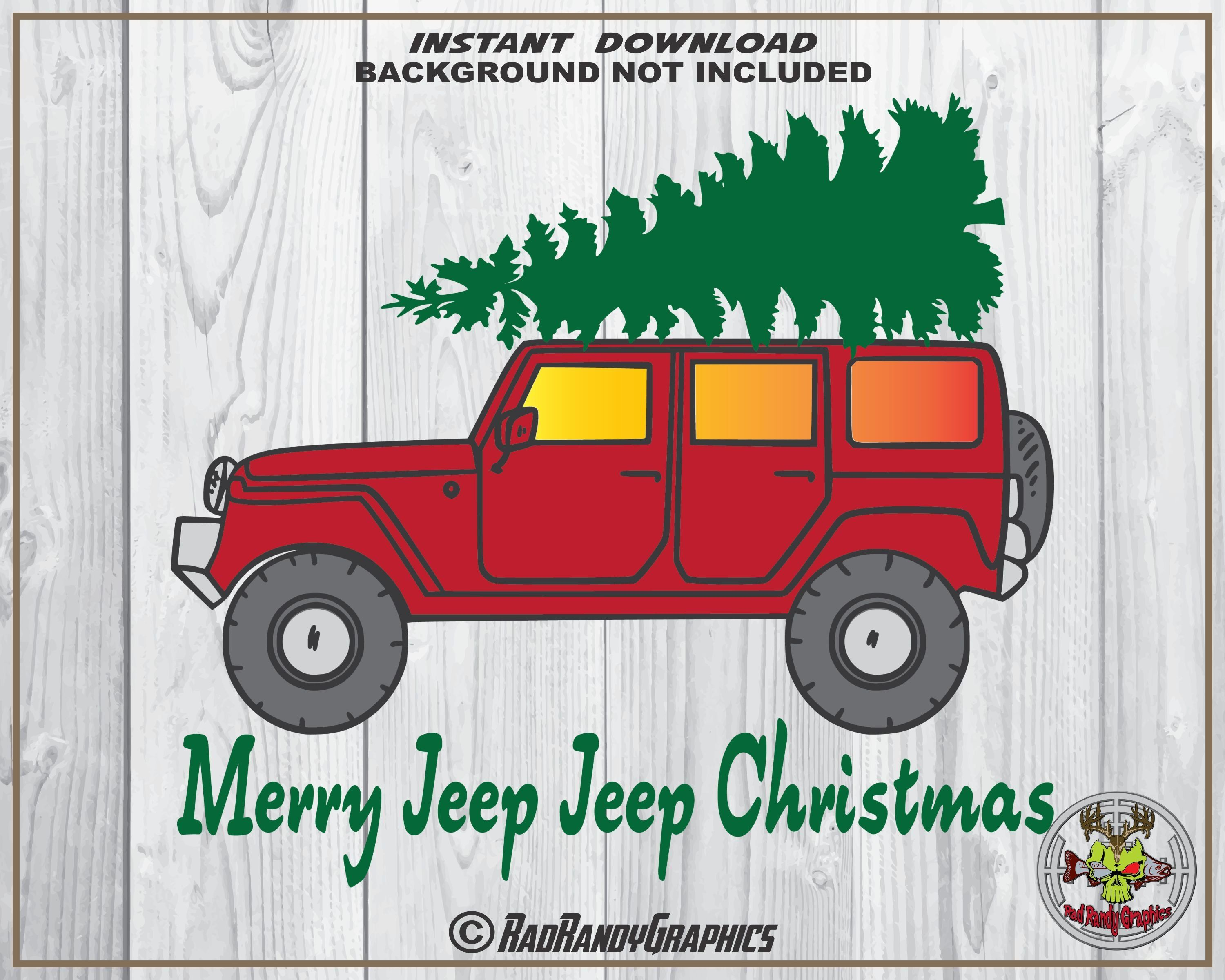 Christmas Jeep Silhouette.Merry Jeep Jeep Christmas Cut Or Print Files Eps Svg Png