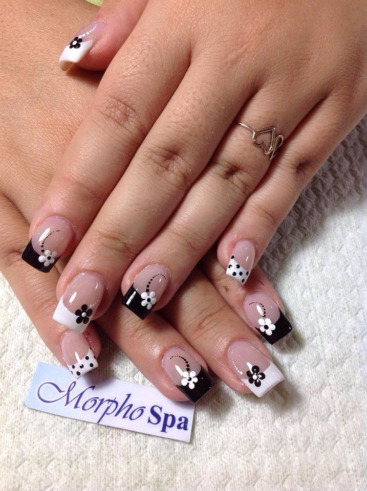 Black and white flowers   Nail designs   Pinterest   White flowers ...