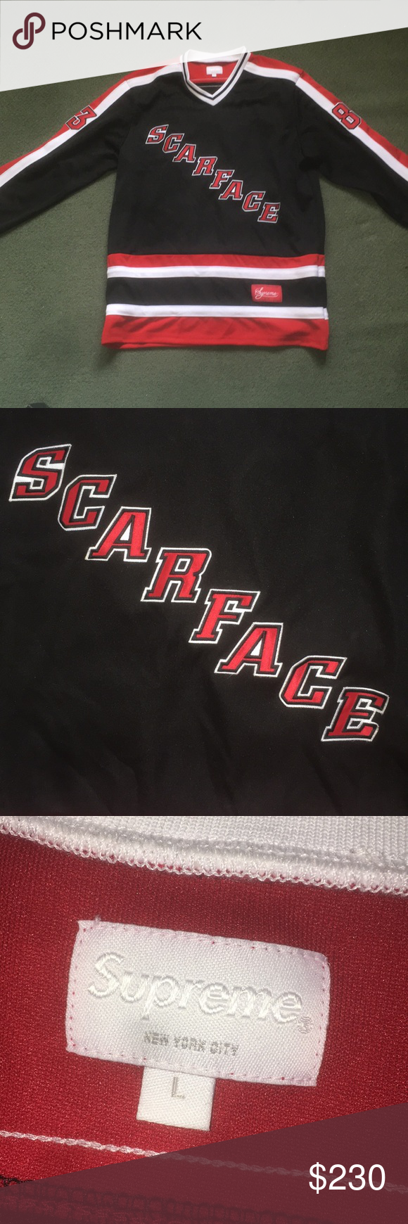 Supreme Scarface Hockey Jersey Hockey Jersey Scarface Sneaker Collection [ 1740 x 580 Pixel ]