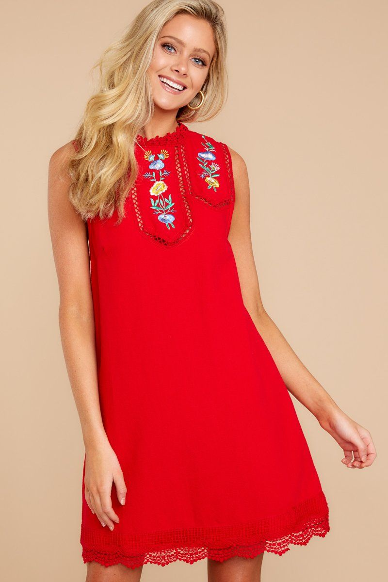 2659c25287 Chic Red Embroidered Dress - Adorable Red Embroidered Dress - Dress -   44.00 – Red Dress Boutique