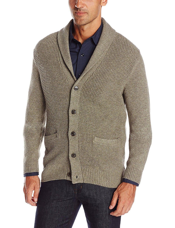 Men s Long Sleeve Shawl Collar Cardigan Sweater - Taupe ... 1f69a98dd