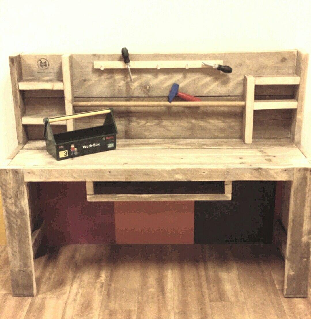 werkbank voor de boys onze meubels van steigerhout pinterest werkbank gereedschapskist en. Black Bedroom Furniture Sets. Home Design Ideas