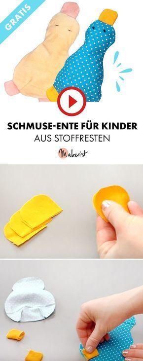 Kuscheltier Ente Spielzeug für Kinder  Makerist auf Youtube ideen baby schnuffeltuch SchmuseEnte aus Stoffrest nähen  gratis Schnittmuster und Gewinnspiel