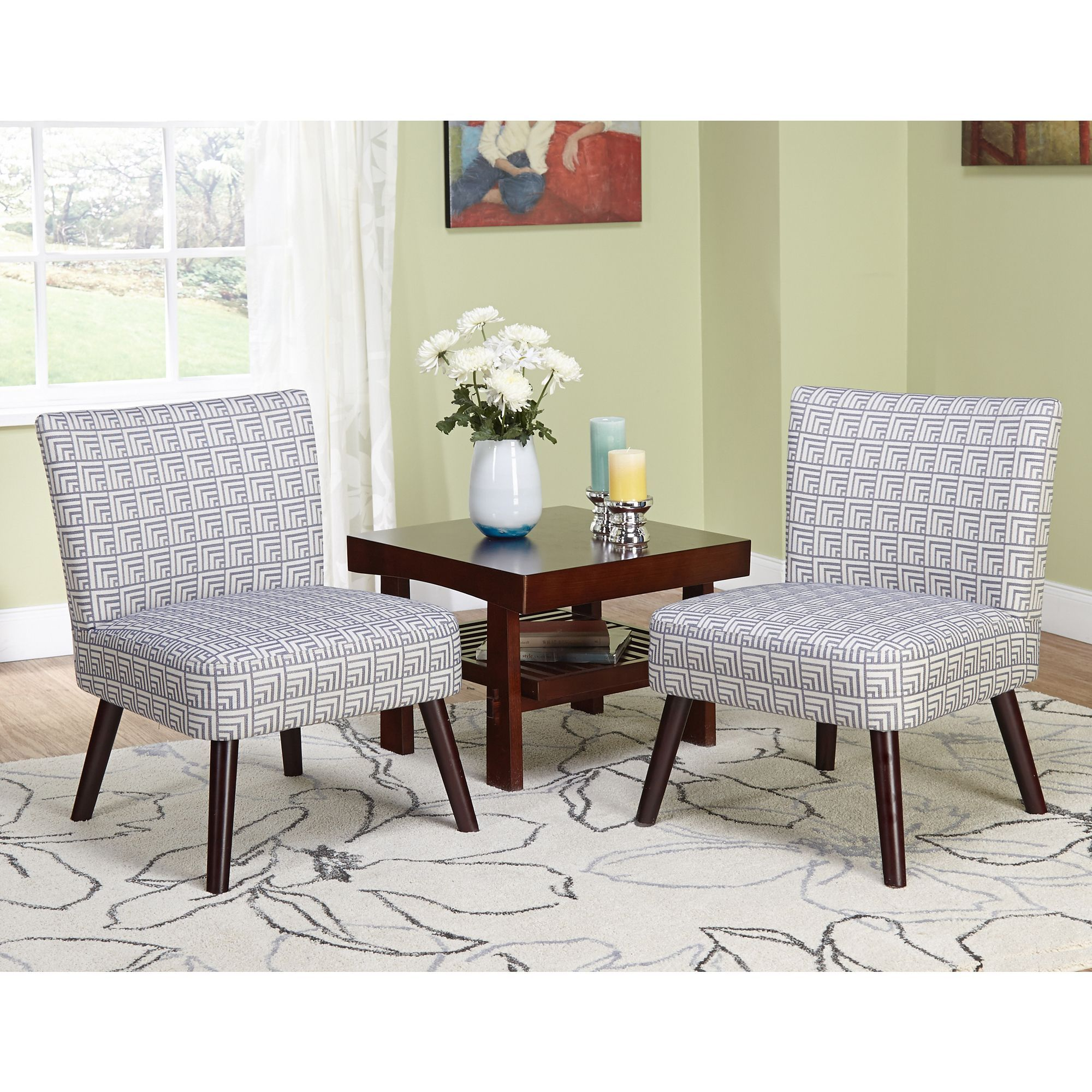 Simple Living Delilah Grey Print Accent Chairs (Set of 2) | MySpace ...
