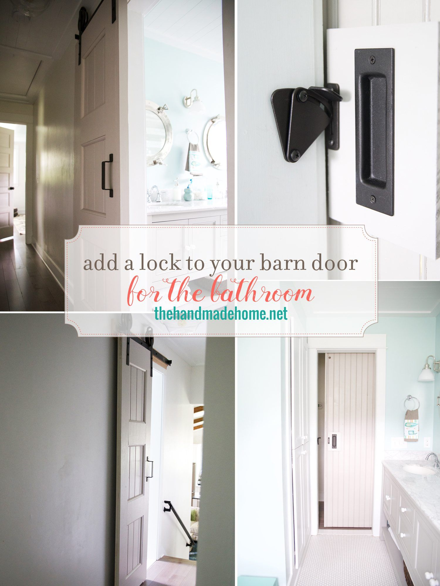 Add A Lock To A Barn Door The Handmade Home Bathroom Barn Door