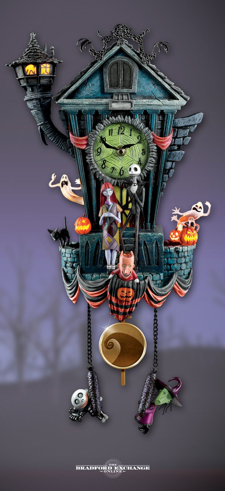 handcrafted sculptural cuckoo clock features jack skellington sally led lighting beloved movie music zero popping out on the hour and much more - Nightmare Before Christmas Cuckoo Clock