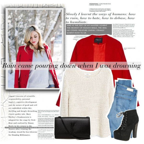 A fashion look from September 2015 featuring MANGO sweaters, Derek Lam coats and AG Adriano Goldschmied jeans. Browse and shop related looks.
