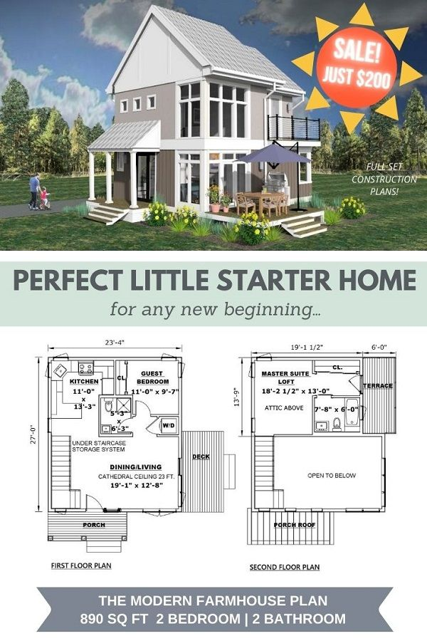 Looking to build a small house with a very small budget? The Modern Farmhouse is the perfect little starter home for anyone looking for a new beginning. The plan includes 2 bedrooms & 2 bathrooms with high ceilings in under 1,000 sq ft, a spectacular Master Suite Loft with a private terrace, a fully designed under staircase storage system, and much more. Sale run through the end of August 2020. Hurry! #smallhouseworks #smallhouseplans #modernfarmhouse #starterhome #buildasmallhouse #tinyhouse
