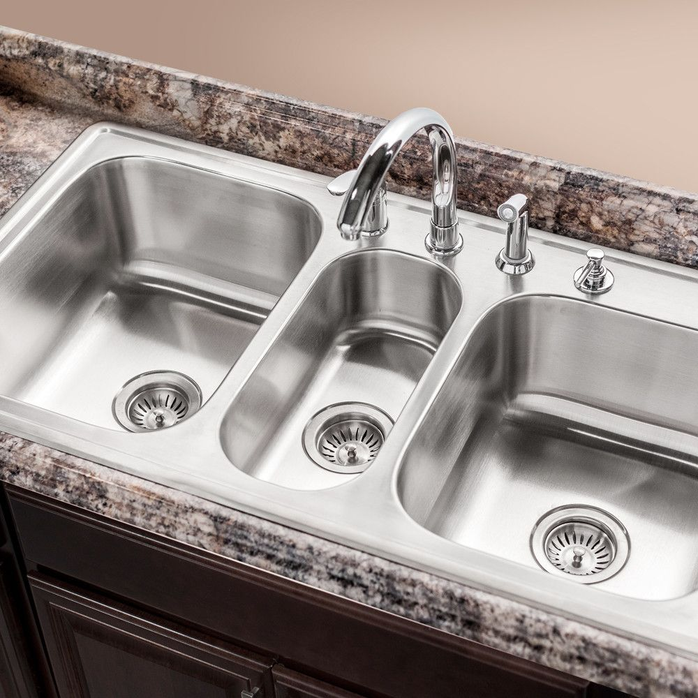 Premiere Gourmet Top Mount Triple Bowl Kitchen Sink With Images
