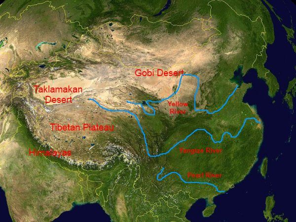 Physical Map Of China Mountains Rivers Deserts Plateaus - Argentina map with rivers and mountains