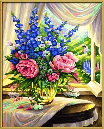 Blumen am Fenster   Schipper Malen nach Zahlen Malvorlagen für