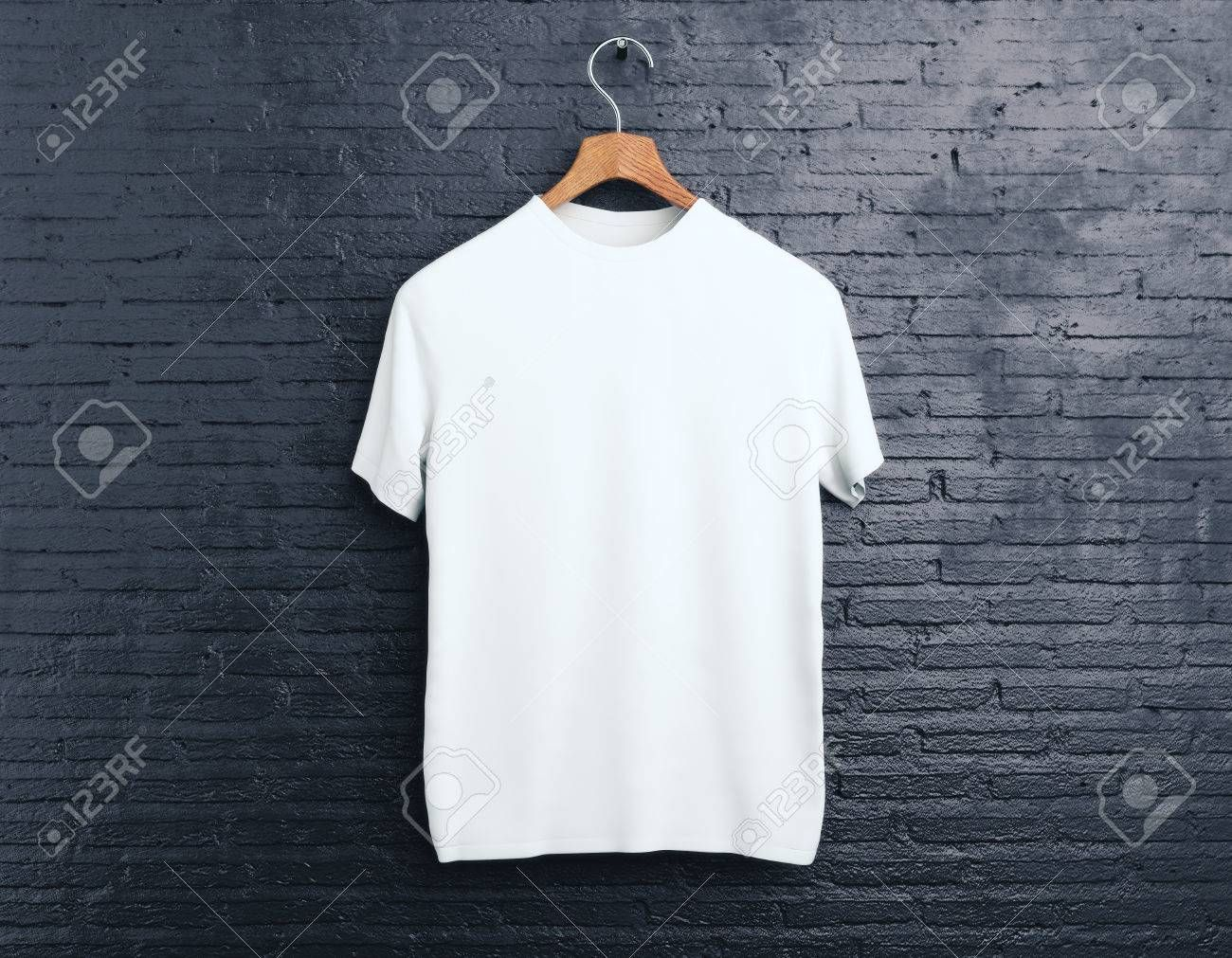 Download Wooden Hanger With Empty White T Shirt Hanging On Dark Brick Background Shopping Concept Mock Up 3d Rendering Aff Clothes Organic Cotton T Shirts Shirts