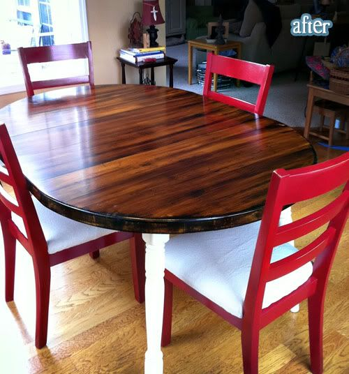 Dining Room Table Refinishing: Man The White And Stain Combo Looks Good! Refinished