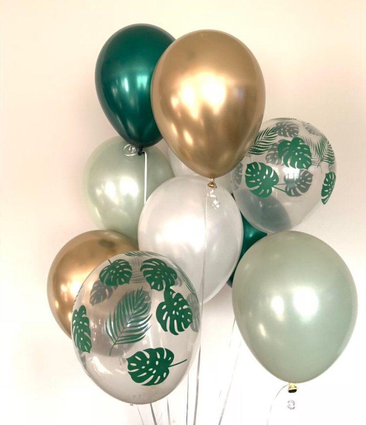 Monstera Leaf Sage Green Balloons Tropical Wedding