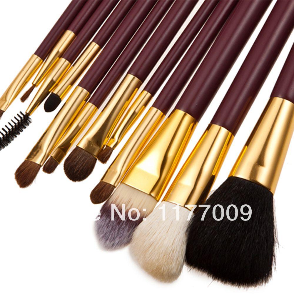Red Professional 12Pcs Makeup Brush Set Kit With Cylinder