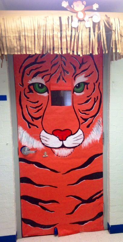 Tiger Themed Classroom Door Door Covered With Orange Paper And