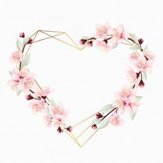 Love Floral Frame Background With Cherry Blossoms