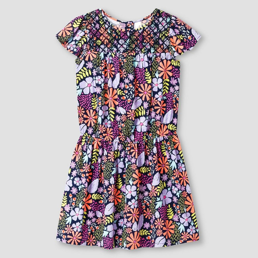 Girls' Floral Print Dress Cat & Jack - Multicolored XL, Girl's