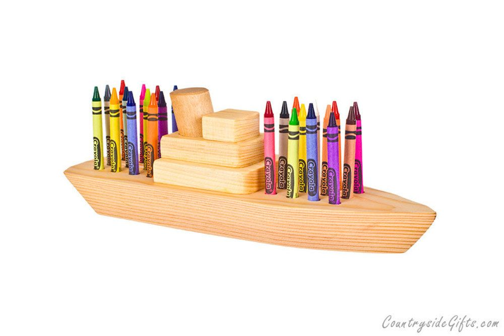 Wooden Boat Crayon Holder 24ct Crayons 24 95 Crayon Holder Cool Woodworking Projects Gifts