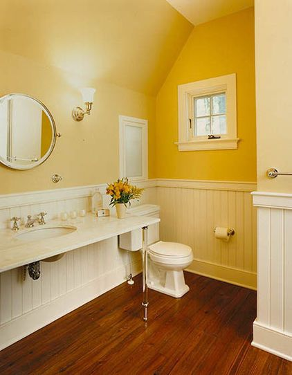 "Yellow bathroom w/white beadboard & ""wood"" tile floor ..."