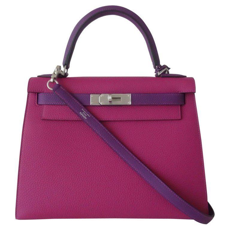 84f02419d00cde Hermès - Kelly 28 Sellier Horseshoe Rose Pourpre, Togo leather, palladium  hardware handbag ($19,972)
